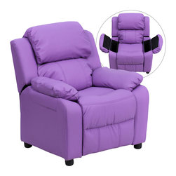 Flash Furniture - Flash Furniture Deluxe Heavily Padded Contemporary Lavender Vinyl Kids Recliner - Kids will now be able to enjoy the comfort that adults experience with a comfortable recliner that was made just for them! this chair features a strong wood frame with soft foam and then enveloped in durable vinyl upholstery for your active child. Choose from an array of colors that will best suit your child's personality or bedroom. This petite sized recliner features storage arms so kids can store items away and retrieve at their convenience. [BT-7985-KID-LAV-GG]