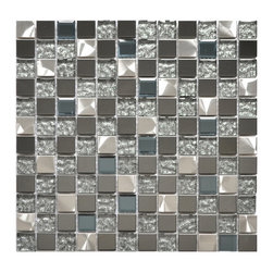Eden Mosaic Tile - Silver Black And Royal Blue Mixed Glass And Metal Tile, Sheet (11 Sheets) - An incredibly unique modern metal tile mix. This mosaic is a mix of two types of stainless steel tile as well as two types of glass. The mirrored dark gray stainless steel is offset by the bright brushed finish of the silver colored metal. Like the popular EMT_501 tile, this mosaic features speckled silver glass tile which is complimented by a pale royal blue glass tile with chamfered diamond like edges. This tile is perfect for people that want a mix of glass and metal for their kitchen backsplash, accent wall or bathroom wall. The tiles in this sheet are mounted on a nylon mesh which allows for an easy installation.