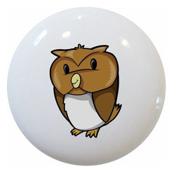 Carolina Hardware and Decor, LLC - Baby Owl Ceramic Cabinet Drawer Knob - New 1 1/2 inch ceramic cabinet, drawer, or furniture knob with mounting hardware included. Also works great in a bathroom or on bi-fold closet doors (may require longer screws).  Item can be wiped clean with a soft damp cloth.  Great addition and nice finishing touch to any room.