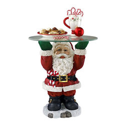 """EttansPalace - Santa Claus Sculptural Glass-Topped Holiday Table - Our Santa Claus table gifts you with the perfect spot to leave Christmas Eve milk and cookies! The jolly old elf from the North Pole deftly balances a 3/8""""-thick, 18-inch diameter, pencil-edged glass tabletop, allowing you to admire his snow white beard and chubby tummy from any angle. Realistically hand-painted and cast in quality designer resin, our scaled is a functionally festive work of holiday decor."""