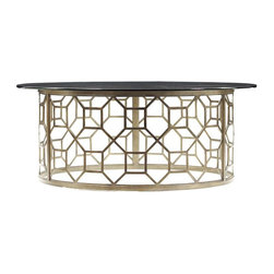 Stanley Furniture - Avalon Heights-Roxy Glass Cocktail Table - Looking for a glamorous focal point for your living room? Look no further than our Roxy Glass Cocktail Table. Combining metal and glass, the table is a style knockout. Linking octagons create the circular basis, which is then topped with a tempered glass top with a polished edge. The rounded shape serves as a focal point, inviting friends and guests to the conversation, while it softens the metal and glass duo for a design that is as attractive as it is welcoming.