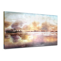 """Vertuu Design - 'The Islands Panorama' Artwork - Bring a soft wash of color to your home with the hand-painted """"The Islands Panorama"""" Artwork. Featuring an island landscape in blended purple, orange and blue hues, this high gloss acrylic canvas is bright without being overwhelming. Display it above a mantel or bed to create a subdued, serene atmosphere."""