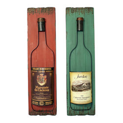 ecWorld - Wine Bottles Entertaining Wood and Metal Wall Art Decor - Set of 2 - The colorful pair of wall panels are handcrafted and weathered by expert artisans. Ideal display pieces for your kitchen, bar or entertaining area, they are sure to uplift any wall decor.