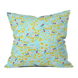 DENY Designs - Joy Laforme Wild Floral Ditsy In Pale Blue Throw Pillow - Wanna transform a serious room into a fun, inviting space? Looking to complete a room full of solids with a unique print? Need to add a pop of color to your dull, lackluster space? Accomplish all of the above with one simple, yet powerful home accessory we like to call the DENY throw pillow collection! Custom printed in the USA for every order.