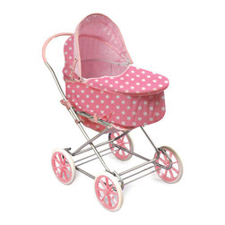 "Badger Basket - 3-In-1 Doll Pram/Carrier/Stroller - Pink With White Polka Dots - This exciting item includes a Doll Pram, Carrier, and Stroller all in one so that your child can take her dolls everywhere in comfort and style. Carrier is 6.5"" deep and can be attached to the frame so that the pram faces forward or faces your child as she pushes the carriage. For dolls up to 24"". Can be enjoyed by children from three years old and up. Small parts - not for children under three. Some assembly required. Illustrated instructions included. This item is a toy for use with dolls only. It is never to be used with real infants or pets. Manufacturer: Badger Basket. Brand: Badger Basket. Part Number: 00563. UPC: 46605735633"