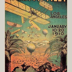 "Buyenlarge.com, Inc. - First in America Aviation Meet - Paper Poster 20"" x 30"" - First in America aviation meet - Biplanes and balloons cover the sky in Los Angeles valley for a first ever meet and show."