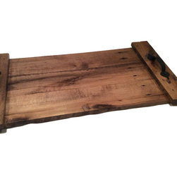 """Hilda's Furnishings - Rustic Decorator Serving Tray Made From Reclaimed, Distressed or Pallet Wood - These trays are handmade from wood that is used or generally unsuitable for common use. Each one is different as the wood takes the stain differently. The tray is finished with three coated of polyurethane. Large head nails are used in assembly to give the tray a more homemade country rustic appearance. Felt feet are applied to prevent scratching of any surface the tray may sit on. Finished size is approximately 11-1/2"""" x 14"""" x 2-1/2"""""""