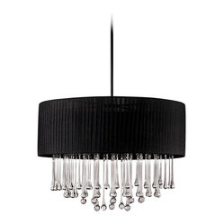 "Contemporary Penchant 23 3/4"" High Crystal and Black Pendant Light"