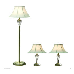 Elegant Designs - LC1001-ABS Elegant Designs Antique Brass 3 Pack Lamp Set Table Lamps Floor Lamp - Accessorize your space with this tastefully designed lamp set. It includes 2 table lamps and 1 floor lamp, each with a white fabric shade to make beautifying your home a cinch! Each lamp is enriched with an exquisite Antique Brass finish.  We believe that lighting is like jewelry for your home. Our products will help to enhance your room with elegance and sophistication.