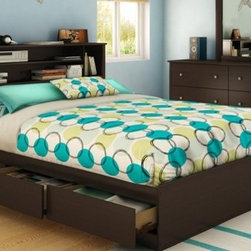 """South Shore - Vito Queen Storage Platform Bed - This Queen mate's bed (60"""") offers a practical storage solution with its two drawers featuring Smart Glide technology. The bed is an economical choice since it is designed to be used without a box spring. Features: -Queen mates bed (60'').-Slatted boards support a mattress so a box spring is not required.-Can be used with the full/queen bookcase headboard (54/60'') (3119092) to form a more complete ensemble.-Made of EPP certified panels (Environmentally Preferred Product).-Smart Glide drawer slides feature stops and built-in dampers.-Vito collection.-Includes two drawers that can be installed on the right or left sides.-Distressed: No.-Collection: Vito.-Country of Manufacture: Canada.Dimensions: -Drawer: 4.38"""" H x 24.44"""" W x 14.31"""" D each.-Overall Product Weight: 144 lbs.Warranty: -5-year warranty."""