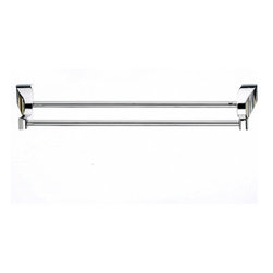 "Top Knobs - Aqua Bath 18"" Double Towel Rod - Polished Chrome - Length - 19 1/4"", Projection - 5 1/2"", Center to Center - 18"", Bar Stock Diameter - 1/2"", Base Diameter - 1 1/4"" w (x) 1 1/4"" h,"