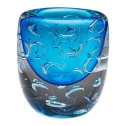 Cyan Design - Cyan Design Bristol Vase X-89740 - The rounded shape and shallow mouth create an unexpected look to this Cyan Design vase. From the Bristol Collection, this contemporary vase features open rings created by pockets or bubbles of air within the glass body. Clear glass has been paired with Cobalt Blue accenting, completing the look.