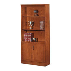 DMi - DMi Belmont Bookcase - 36 Width x 15 Depth x 80 Height - 2 Door - Wood - Three-shelf bookcase is part of the DMI Belmont Veneer Collection. This collection offers the warmth of an Executive Cherry finish enhanced by elegant details such as semi-matte, black metal hardware and inlaid, reconstituted, cherry veneer tops bordered by walnut banding and finished with a protective ultraviolet topcoat. An elegant transitional design is achieved with shaped base moldings and double receded crown moldings. Two shelves adjust in 1-3/8 increments. Two-door lower cabinet includes an adjustable shelf that also adjusts in 1-3/8 increments and two compartments stretching across the width of the storage area. Adjustable levelers compensate for uneven floors.
