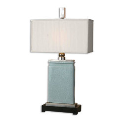 Uttermost - Azure Light Blue Table Lamp - You'll never get the blues when this gorgeous lamp is there to light the way. Featuring a porcelain body that's finished with a light blue crackle pattern and embellished with nickel-plated accents, this handsome lamp is topped off with a textile-covered lampshade.
