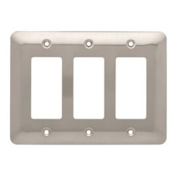 Liberty Hardware - Liberty Hardware 126442 Stamped Round WP Collection 6.78 Inch Switch Plate - A simple change can make a huge impact on the look and feel of any room. Change out your old wall plates and give any room a brand new feel. Experience the look of a quality Liberty Hardware wall plate. Width - 6.78 Inch, Height - 4.9 Inch, Projection - 0.2 Inch, Finish - Satin Nickel, Weight - 0.3 Lbs.