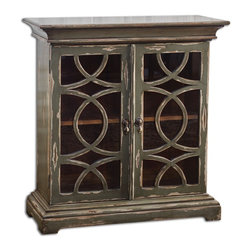 Duran Charcoal Gray Distressed Console Cabinet - *Solid Mahogany Cabinet Finished In Hand Distressed, Glazed Charcoal Over Aged White Undertones
