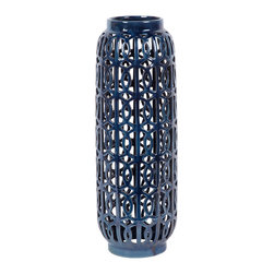 #N/A - Searnes (Large) - Searnes (Large). ceramic lattice pattern vase with blue high gloss glaze