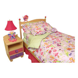 Room Magic - Magic Garden Full Comforter/Bedskirt/Sham Set - Girls will love this adorable designer fabric full of with flower-fairies and butterflies. Coordinating print Full comforter,  solid ruffled bed skirt and 2 ruffled print shams set make the Magic Garden bedding collection complete.  Available in Full size in the finest 100% cotton poplin.