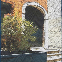 Soft City: Archway, Original, Mixed Media - Digitally manipulated photography, inkjet printing on cotton, hand quilted. Anodized aluminum hanging bars included (invisible from front when hung).