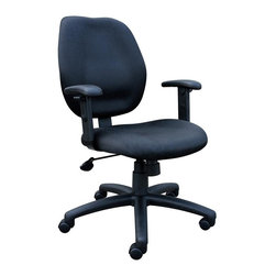 """BOSS Chair - Task Chair w Adjustable Arms in Black - Mid-back styling with firm lumbar support. Elegant styling upholstered with commercial grade fabric. Sculptured seat cushion made from molded foam that contour to the shape of your body. Ratchet back height adjustment mechanism which allows perfect positioning of the back cushion and lumbar support. Optional adjustable height armrests. Large 27"""" nylon base for greater stability. Pneumatic gas lift provides instant height adjustment of the seat. Adjustable tilt tension that accommodates all different size users. Hooded double wheel casters. Upright locking position. Cushion color: Black. Base/wood: Black. Seat size: 20 in. W x 19 in. D. Seat height: 18.5 in. -22 in. H. Arm height: 25.5 in. -32 in. H. Overall dimension: 26 in. W x 27 in. D x 36.5-42 in. H. Weight capacity: 250 lbs"""