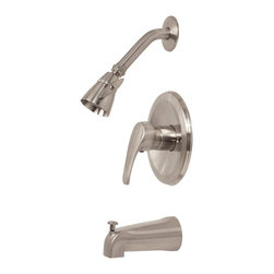 """PREMIER - Westlake Tub And Shower Faucet Brushed Nickel Finish - Zinc lever handle, pressure balance faucet and metal escutcheon """"Brass showerhead and arm, SS flange and zinc spout Ceramic cartridge with stop valve, valve includes valve body, ceramic cartridge and mud guard Trim kit includes brass showerhead and arm, shower flange, spout, escutcheon, and handle The smooth contours of Bayviews lever handle provide both a striking look and precise temperature control. Bayviews pressure balanced valve prevents hot water scalding and cold water shock due to fluctuations in water pressure. Complete your baths integrated look with this Bayview ceramic disc tub and shower faucet set. The Bayview tub and shower faucet features a metal lever handle and escutcheon, a brass showerhead and arm, a stainless steel flange, a zinc spout, a wear-resistant ceramic disc cartridge with stop valve, and a PVD brushed nickel finish. Premiers physical vapor deposition (PVD) process provides a brushed nickel finish that is exceptionally strong and resistant to corrosion tarnishing, scratching, and discoloration. It complies with the requirements of the Uniform Plumbing Code and the Americans with Disabilities Act. It is covered by Premiers industry-leading Limited Lifetime Warranty."""