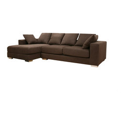 Baxton Studio - Baxton Studio Florence Brown Twill Fabric Modern Sectional Sofa - Any family looking to furnish a living room casually and practically yet with style can find much to love about the Florence Sectional.  The brown twill fabric is thick, durable, and dark in color, ideal for families with small children (or just messy husbands!).  Comfortable and generously-sized, the cushioning is dense foam with plenty of ???aaaaah!??? factor, and you will also receive 4 backrest cushions and 2 smaller throw pillows.  Consider this sofa a great investment:  the frame is made with solid hardwood and plywood and has a supportive s-spring coil system as well as woven straps.  Finishing off the 2-piece sofa and chaise set are steel legs with an attractive chrome finish and non-marking feet.  Note: the sofa and chaise do not secure to one another and are freestanding pieces.  The fabric cover is completely removable, should it need to be cleaned.  Some assembly is required (legs).