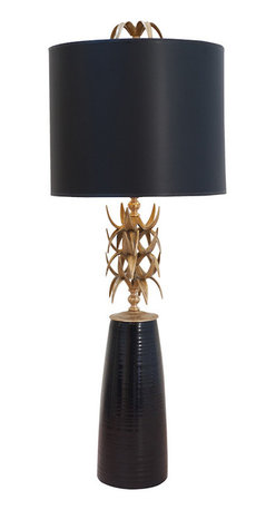 """Ro Sham Beaux - Ro Sham Beaux Ananas Black Table Lamp - The Ro Sham Beaux Ananas table lamp's eclectic shape sparks visual interest. Set on a black base, brass leaves form a twisted design underneath a black shade. 12"""" Dia x 31""""H; Turn knob; Accepts one 75W max bulb (not included); Handmade in the USA"""