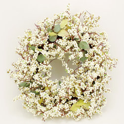 AAFloral - Cream & Green Foam Berry Wreath - Boasting a fresh-from-the-garden appearance, this wreath gives your décor springtime appeal with silk leaves and a wealth of foam berries that look ripe for the picking.   22'' diameter Foam / silk Imported