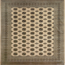 """ALRUG - Handmade Beige/Bone Oriental Bokhara Rug 8' x 8' 10"""" (ft) - This Pakistani Bokhara design rug is hand-knotted with Wool on Cotton."""