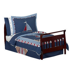 Sweet Jojo Designs - Nautical Nights Toddler Bedding Set (5 Pc.) - The Nautical Nights 5-Piece Toddler Bedding Set by Sweet Jojo Designs will help you create an incredible room for your child. This boy bedding set features nautical themed appliqués and embroidery works of sailboats, anchors and helms. This collection uses the stylish colors of navy, red, chambray blue and camel. The design uses 100% cotton fabrics combined with micro suede fabrics that are machine washable for easy care. This wonderful set will fit all crib and toddler beds.