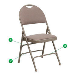 Flash Furniture - Flash Furniture Folding Chairs Large Metal Folding Chairs X-GG-EGB-3-FA507CM-AH - This Triple Braced Plush Comfort HERCULES Folding Chair provides superior support and comfort. This portable folding chair can be used for Parties, Graduations, Sporting Events, School Functions and in the Classroom. This chair will be the perfect addition in the home when in need of extra seating to accommodate guests. When no longer needed, simply fold away as a compact storage solution. This economically priced chair will endure some heavy usage with an 18-gauge steel frame, triple braced and leg strengthening support bars. [HA-MC705AF-3-BGE-GG]