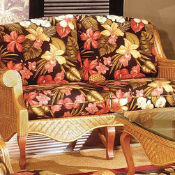 Spice Island Wicker - Wicker Love Seat (Baja Lemon - All Weather) - Fabric: Baja Lemon (All Weather)Like a breath of fresh air, the Palm Beach Collection love seat is a cheerful addition to any patio space.  Rolled arms and classic wicker bring comfort and character while the cinnamon finish is lighthearted and timeless in hue and design.  Wicker frame loveseat features genteel close-knit patterning and is supported by a beautiful complement of simple wooden cabriole legs.  Rolled arms slope upward to form the back.  You patio will suddenly become a warm and inviting place to be with the addition of this beautiful wicker loveseat. * Solid Wicker Construction. Cinnamon Finish. For indoor, or covered patio use only. Includes cushion. 57 in. W x 41 in. D x 36.5 in. H