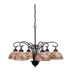 """Meyda Tiffany - Meyda 31""""W Turning Leaf 6-Light Chandelier - Subtle toned Autumn Gold, Russet and Moss Green leaves swirl against an Amber Mauve background in this stained glass Tiffany Studio reproduction. This elegant six light chandelier, with Mahogany Bronze finished hardware, will complement any decor."""