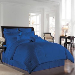 Wamsutta - Wamsutta 500 Damask Comforter Sets in Nautical Blue - A lustrous, silk-like feel and a classic damask stripe that reverses to a pinstripe back provides refined detail in these elegant comforter sets. Comforter and sham feature 100% Egyptian cotton construction. 500 thread count.