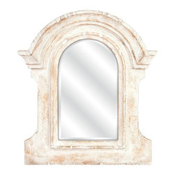 Old World Architectural Distressed White Wall Mirror - *With the frame inspired by ancient Roman architecture but given a weathered white finish, the Beautris mirror will blend perfectly in your casual or cottage decor.