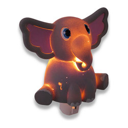 Whimsical Gray Elephant Childrens Night Light Nite Lite - This adorable gray elephant night light adds a bright touch of whimsy to your child`s room, while providing just enough light to ease his/her mind in the dark nighttime hours. Made of cold cast resin, it measures 5 1/2 inches tall, 5 inches wide, and 2 1/2 inches deep. It has a 360 degree swivel plug to accommodate any outlet, and it uses a 7 watt (max) type C night light style bulb (included). The light has an on/off switch on the front, and is recommended for children ages 6 and up.