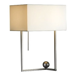 "Hubbardton Forge - Contemporary Hubbardton Forge Balance Steel Table Lamp - Steel table lamp. Dark smoke finish. Box lamp shade. Dimmer switch. Maximum 75 watt or equivalent bulb (not included). Shade is 16 1/2"" wide. 22"" high.  Steel table lamp.   Dark smoke finish.   Box lamp shade.  Dimmer switch.  Maximum 75 watt or equivalent bulb (not included).   Shade is 16 1/2"" wide.   22"" high."