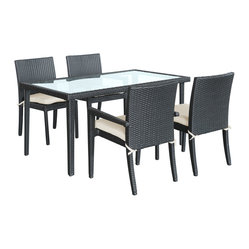 Viva Outdoor Wicker Patio Dining Set in Espresso