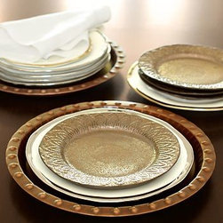 "Bronze Reative Stoneware Salad Plate, Set of 4 - With an iridescent center and intricately detailed rim, our salad plate is the star of the table. 9"" diameter, 1"" high Made of stoneware with a metallic-glaze finish. Set of 4. Microwave- and dishwasher-safe."
