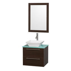 "Wyndham Collection - Wyndham Collection 24"" Amare Espresso Single Sink Vanity Set w/ Green Glass Top - Modern clean lines and a truly elegant design aesthetic meet affordability in the Wyndham Collection Amare Vanity. Available with green glass or pure white man-made stone counters, and featuring soft close door hinges and drawer glides, you'll never hear a noisy door again! Meticulously finished with brushed Chrome hardware, the attention to detail on this elegant contemporary vanity is unrivalled."