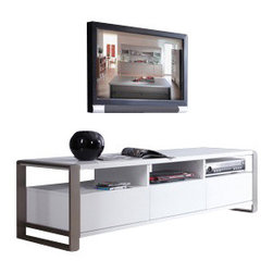 B-Modern - B-Modern Stylist TV Stand, White - When function and form come together, the Stylist collection creates the perfect entertainment center. It is designed exclusively by the B-Modern Design team in Los Angeles, CA. This collection has 4 different color options: white, black oak, light walnut, and gray finishes. Featuring 3 media drawers with state-of-the-art slow closing technology and exclusive, commercial grade, brushed stainless steel legs, the Stylist is dressed to impress. For the maximum use of a small space, the Stylist has 3 convenient component shelves with easy wiring access. The Stylist's polished white / black oak / light walnut / gray high gloss finish puts this design in a class of its own.