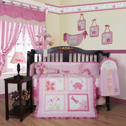 "Geenny - Boutique Girl Dragonfly 13 Piece Crib Bedding Set - This listing is for a 13 piece beautiful Geenny brand new crib set with all the bundle you will need. This set is made to fit all standard cribs and toddler beds. The whole set comes with 10 pieces plus 3 new wall art decor hangings, which comes out as a total 13 piece bundle. The set is made by Geenny Designs, well known as Nursery Series Products Designs. All bundled pieces are in a brand new zippered, handled carrying bag. Dress up and decorate your baby's room with this beautiful 13 piece crib bedding set. Features: -Set includes: Crib quilt, two valances, skirt, crib sheet, bumper, diaper stacker, toy bag, two pillows, three wall hangings. -Material: 65 / 35 Percent of Polyester / Cotton. -Crib quilt: 45"" H x 36"" W. -Crib bumper: 10"" W x 158"" D. -Fitted crib sheet: 52"" H x 28"" W. -Window valances: 16"" H x 58"" W. -Crib skirt: 28"" H x 52"" W. -Toy bag: 20"" H x 14"" W. -Decorative accent pillows: 10"" H x 10"" W. -Machine washable."