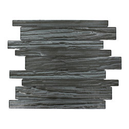 """GlassTileStore - Terrene Black Locust Planks Glass Tile - TERRENE BLACK LOCUST PLANKS GLASS TILE  This striking glass can make any room atheistically appealing. The wavy finish brings a distinctive design and will add a nice touch for a contemporary and modern room. This tile is great to use for the bathroom, kitchen or pool installation.      Chip Size: Random   Material: Glass   Color: Metallic Gunmetal    Finish:  Polish   Sold by the Sheet - each sheet measures 10 3/4"""" x 11 3/4"""" (0.88 sq. ft.)   Thickness: 3mm             - Glass Tiles -"""