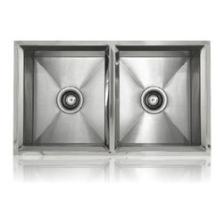 Lenova - Lenova Ss-Rim-Ed Undermount Double Bowl Kitchen Sink Stainless Steel - The Lenova SS-RIM-ED Rim Equal Double-Bowl Undermount/Topmount Kitchen Sink has overall sink dimensions of 33-Inch by 18-Inch and bowl dimensions of Left: 15-3/8-Inch by 16-1/2-Inch by 9-1/2-Inch, Right: 15-3/8-Inch by 16-1/2-Inch by 9-1/2-Inch. The name Lenova is born from a love of space and stars where the universe is truly unlimited. In this boundless spirit we present a line of new and timeless designs for kitchen and bath sinks. The Rim Collection is as beautiful to look at as faceted gem stone. Plus it features a dual mounting option. Hand made to our specifications in 16-Gauge premium stainless steel with scratch-resistant satin finish and 5 - Side sound baffling, plus our superior X Channel technology. The Rim Dual mount sinks elevate function to a beautiful new level. Covered by Lenova's Limited Lifetime Warranty: Lenova Sinkware warrants all of its stainless steel sinks to be free of all manufacturing and material defects under normal use by the original owner.