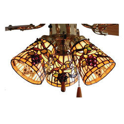 Meyda Tiffany - Jeweled Grape Fan Light Shade - Sold individually. Hardware not included. Handcrafted. Theme: Tiffany. Beige and purple finish. 4 in. Dia. x 5 in. H. Care InstructionsRadiant concord purple jewels, vine