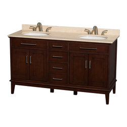 """Wyndham Collection - Hatton 60"""" Dark Chestnut Double Vanity w/ Ivory Marble Top & Oval Sink - Bring a feeling of texture and depth to your bath with the gorgeous Hatton vanity series - hand finished in warm shades of Dark or Light Chestnut, with brushed chrome or optional antique bronze accents. A contemporary classic for the most discerning of customers. Available in multiple sizes and finishes."""