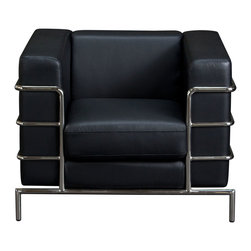 Diamond Sofa - Diamond Sofa Citadel Chair in Black - The Citadel collection by Diamond  sofa is a Le-Corbusier-inspired design with an exposed tubular steel wrap-around frame. Covered with plush, deep cushioning, this contemporary collection offers a modern approach to a classic frame. The black bonded leather chair features a kiln-dried hardwood frame that is glued and reinforced, offers strength, while the zig zag spring suspension base gives you a supple seating that will hold up for years. The elastic webbing back suspension offers additional stability while allowing for the leather to breathe and maintain its shape. Seat cushions are comprised of a high density foam cushion wrapped in polyester fibers to ensure a comfortable, relaxing and lasting seat. Seat cushions and back pillows are attached to the frame to eliminate shifts or gaps. The crisp and angular lines promote an aura of strikingly modern comfort. Deep black, bonded leather finishes the piece, to provide and ensure years of comfort and enjoyment. Citadel sofa measures 39 inches wide by 33 inches deep by 28 inches high.
