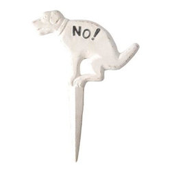 "Esschert Design - Cast Iron Dog Yard Sign - The subtle hint of this ""No Pooping"" yard sign from Esschert Design will make the neighbors smile  while getting the real message across. Perfect for lawns  beaches  anywhere passing dogs decide to stop. Durable cast iron with antique white finish gets the point across to dog walkers with a firm message to keep on going. Plants firmly into ground with cast molded stake.  This item cannot be shipped to APO/FPO addresses. Please accept our apologies."