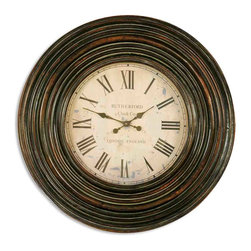 "Uttermost - Uttermost Trudy 38"" Wooden Wall Clock 06726 - This clock features a wood frame finished in distressed, burnished brown with light tan undertones and gray glaze. Clock face is aged ivory. Uses one AA battery."