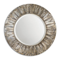 Uttermost - Foliage Round Silver Leaf Mirror - Frame features layered, natural leaves covered in distressed silver leaf with light antiquing. Mirror is beveled.